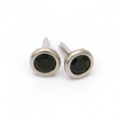 Brads, μεταλλικά διπλόκαρφα 14x8,5 mm απομίμηση πέτρας, μαύρο -10 κομμάτια