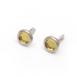 Брадс метал 17x10 мм за декорация и скрапбукинг с имитация камък цвят злато -10 броя