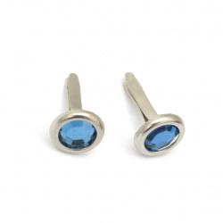 Brads metal 17x10 mm pentru decorare și scrapbooking cu imitație de piatră culoare albastru -10 bucăți
