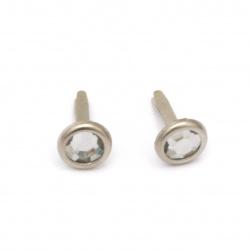 Brads metal 17x10 mm pentru decorare și scrapbooking cu imitație de piatră culoare alb -10 bucăți