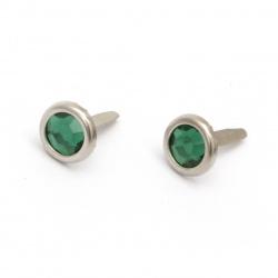 Brads metal 17x10 mm pentru decorare și scrapbooking cu imitație de piatră culoare verde -10 bucăți