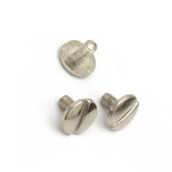 Διακοσμητικά μεταλλικά πριτσίνια 10x7,5 mm ασημί -5 σετ