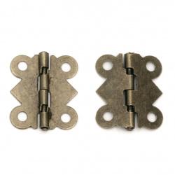 Метална панта 20x17x2.5 мм дупки 2 мм цвят антик бронз -4 броя