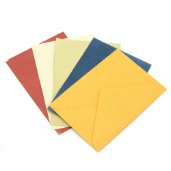 pearl card envelope with embossing 110x160 mm different models and colors