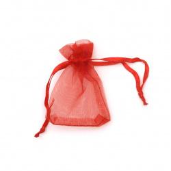 Торбичка за бижута 70x50 мм червена