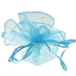 Organza Gift Bags 26 cm blue with pattern