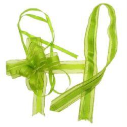 Панделка органза и сатен 95x22x1 мм цвят зелен