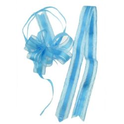 Панделка органза и сатен 95x22x1 мм цвят син