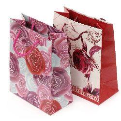 Торбичка подаръчна от картон 140x180 мм цветя АСОРТЕ