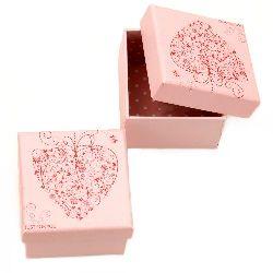 Кутийка за бижута 70x59 мм картон розова For you