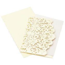 Dantelă de carton 185x125 mm ecru culoare cu plic