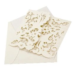 Folding card with lace 165x165 mm ecru color with envelope