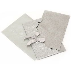 Gift Card with ribbon 190x115 mm color silver with envelope stamp