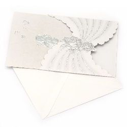 Gift Card curved with roses 145x145 mm silver with envelope