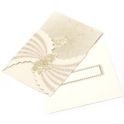 Card curved with roses 145x145 mm golden with envelope
