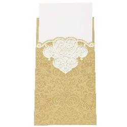Картичка със сърце 105x200 мм цвят старо злато без плик