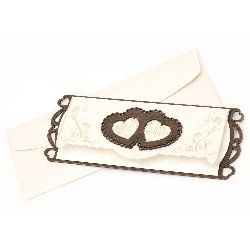 Wooden Gift Card with hearts 225x85 mm color cream with envelope