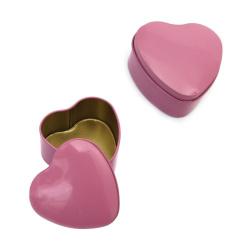 Кутия метална сърце 73x72x38 мм цвят пепел от рози