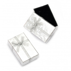 Cardboard Jewelry Box, with Satin Ribbons 50x80 mm silver