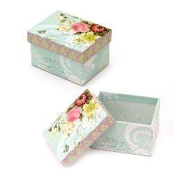 Кутийка за бижута 100x75 мм картон със златен кант