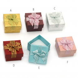 Cardboard Jewelry Box, with Satin Ribbons 50x50 mm ASSORTED Colors