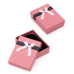 Кутийка за бижута 70x90 мм розова на точки