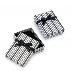 Cardboard Jewelry Box, with Satin Ribbons 70x90 mm white and black