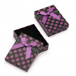 Cardboard Jewelry Box, with Satin Ribbons 70x90 mm black and purple