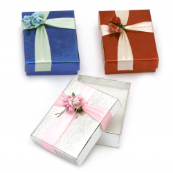 Cardboard Jewelry Box, with Satin Ribbons 70x90 mm ASSORTED Colors