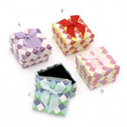 Cardboard Jewelry Box, with Satin Ribbons 50x50 mm ASSORTE