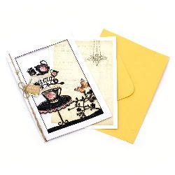 Картичка за пожелания с плик и декорация 166x115 мм A cup of tea