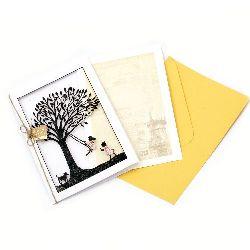 Картичка за пожелания с плик и декорация 166x115 мм Frends