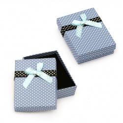 Cutie de bijuterii 70x90 mm albastru cu puncte
