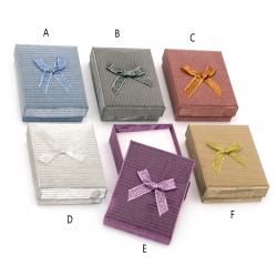 Cardboard Jewelry Box, with Satin Ribbons  70x90 mm ASSORTED