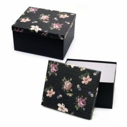 Кутия за подарък правоъгълна 27.5x23x15.5 см черна с цветен капак