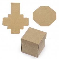 Кутия крафт картон сгъваема 4x4 см с капак