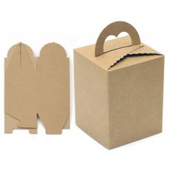 Кутия крафт картон сгъваема 9x9x12 см