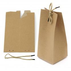 Кутия крафт картон сгъваема 21x9 см с връзка