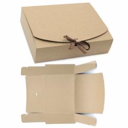 Кутия крафт картон сгъваема 31x25x8 см с връзка