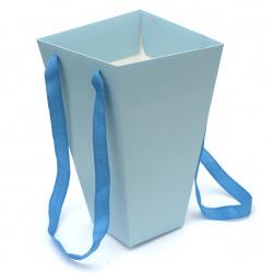 Торбичка подаръчна от картон 270x90~150 мм цвят син светло