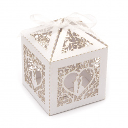 Cardboard folding box 80x60x60 mm heart with newlyweds color white pearl
