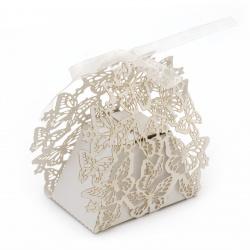 Кутия картонена сгъваема 95x105x45 мм пеперуди цвят бял перлен