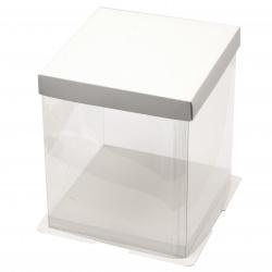 Кутия за подарък прозрачна 210x175x175 мм квадратна цвят бял