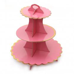 Картонена стойка за мъфини на три нива 33x28.5 см розова