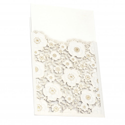 Card lace flowers 185x125 mm color white and gold with envelope