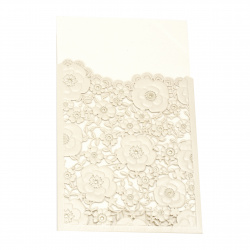 Card lace flowers 185x125 mm ivory and gold with envelope