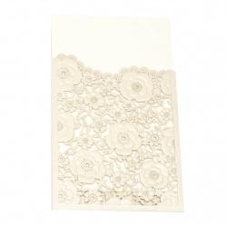 Картичка дантела цветя 185x125 мм цвят слонова кост и злато с плик