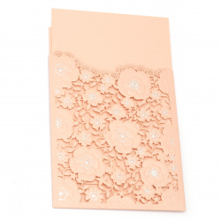 Card lace flowers 185x125 mm color coral and silver with envelope