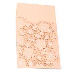 Картичка дантела цветя 185x125 мм цвят  корал и сребро с плик