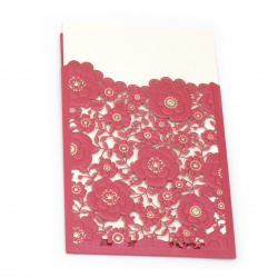 Card lace flowers 185x125 mm color cyclamen and gold with envelope